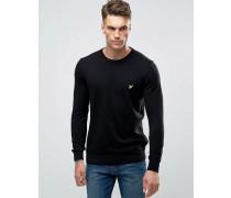 Schwarzer Pullover mit Rundhalsausschnitt aus Baumwolle/Merinowolle Schwarz