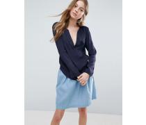 Weit geschnittene Bluse Marineblau