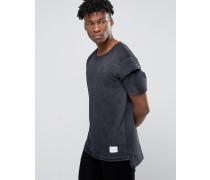 T-Shirt mit Arm im Lagenlook Schwarz