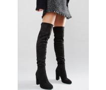 Schwarze Overknee-Stiefel mit Absatz Schwarz
