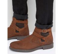 Chelsea-Stiefel aus hellbraunem Wildleder mit Futter in Lammfelloptik Bronze