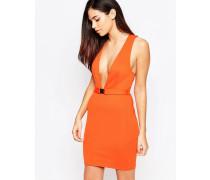 Tief ausgeschnittenes Kleid mit Gürtel Orange