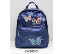 Satin-Rucksack mit Schmetterlingsaufnähern Marineblau