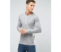Grauer Henley-Pullover in Retro-Noppenstrick Grau