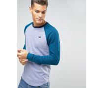Schmal geschnittenes, langärmeliges Baseball-Shirt in Grau mit marineblauen Ärmeln Grau