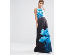 Narisa Maxi-Schlauchkleid mit Beauty-Print in Blau Mehrfarbig