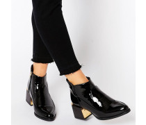 Stiefel in Lackleder mit Blockabsatz Schwarz