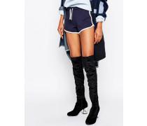 Truffle Overknee-Stiefel aus Samt mit rundem Absatz Schwarz