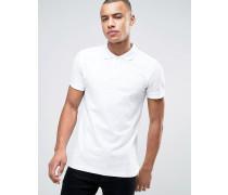 Schmal geschnittenes Basic-Polohemd aus Pikee in Weiß Weiß