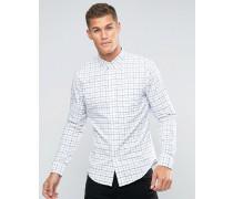 Schmales, weiß kariertes Oxford-Hemd mit Knopfleiste Weiß