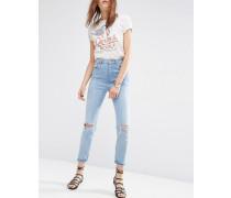 FARLEIGH Schmale Mom-Jeans mit hoher Taille in Stone-Waschung mit Rissen am Knie Blau