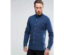 Sunset Genopptes Hemd mit einer Tasche in Indigoblau Marineblau