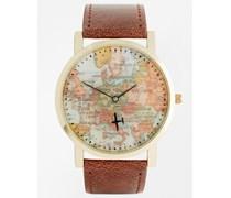 Armbanduhr mit Kartendruck im Vintage-Look Braun