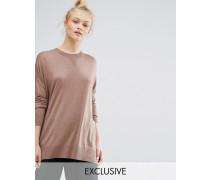 Oversize-Pullover aus Feinstrick Beige