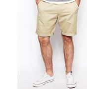 Chino-Shorts mit geradem Beinschnitt in Twill-Waschung Beige