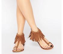 Sandalen mit Fransenverzierung Bronze