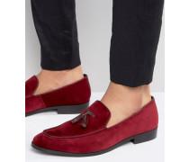Loafer-Hausschuhe aus Samt Rot