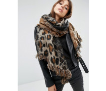 Übergroßer, langer Webschal mit Leopardmuster Beige