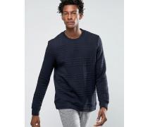 Texturierter Pullover mit Karomuster Marineblau