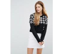 Kurzer Pullover mit Hahnentrittmuster Schwarz