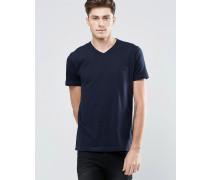 T-Shirt mit V-Ausschnitt Marineblau