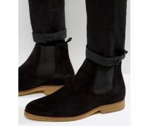 Chelsea-Stiefel aus Wildleder mit Kreppsohle Schwarz