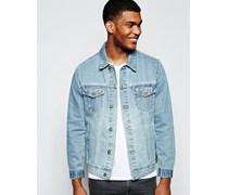 Schmal geschnittene Jeansjacke in verwaschenes Mittelblau Blau