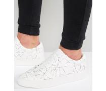 Cracked Bedruckte Sneaker Weiß