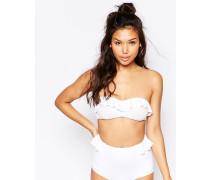 Trägerloses Bikinioberteil mit Rüschen Weiß