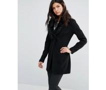 Mantel mit Kunstpelzkragen Schwarz