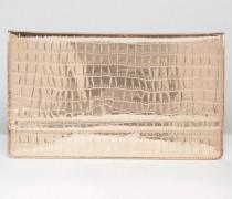 Metallic-Clutch mit doppelter, schmaler Umschlagklappe, in Krokodilsoptik Kupfer