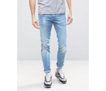 Anbass Schmale Stretch-Jeans in verwaschenem Eisblau Blau