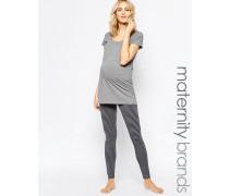 Mamalicious Petra Nell Gestreifte Schlafanzughose für Schwangere Grau