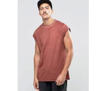 Verwaschenes, lang geschnittenes T-Shirt mit Flügelärmeln Rot