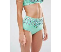 Frozen Bikinihose mit Schmucksteinen und hohem Bund Grün
