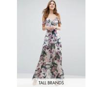 Schulterfreies Maxikleid mit floralem Print Mehrfarbig
