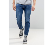 Anbass Schmale Stretch-Jeans in mittlere Waschung Blau