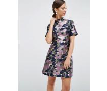 Hochgeschlossenes Jacquard-Minikleid mit floralem Muster Mehrfarbig