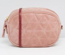 Gesteppte, ovale Umhängetasche aus Wildleder mit Kettenriemen Rosa