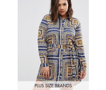 Plus Hemdkleid mit Schalprint Mehrfarbig