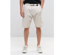 Chino-Shorts mit gewebtem Gürtel Beige