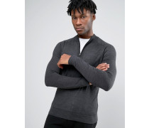 Pullover mit halbem Reißverschluss Grau