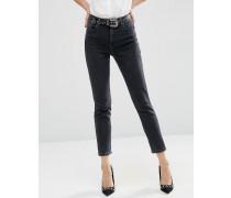 Farleigh Mom-Jeans mit hoher Taille in verwaschenem Schwarz Schwarz