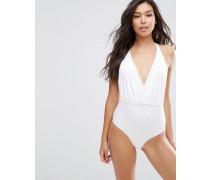 Badeanzug mit Bindung vorne und Twist hinten Weiß