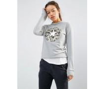 Graues Sweatshirt mit Tarnmuster-Logo Grau