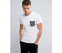 T-Shirt mit gestreifter Tasche Weiß