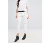 Levi's 501 Ct Gewaschene Boyfriend-Jeans mit umgekrempelten Abschlüssen Weiß