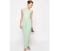 WEDDING Maxikleid mit Spitzenoberteil und Faltdetail Grün