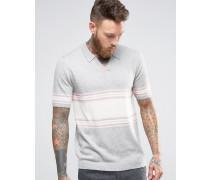 Gestricktes Polohemd aus Merinowollmischung mit Streifen Grau