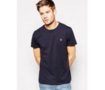 T-Shirt mit Pfauenlogo Schwarz